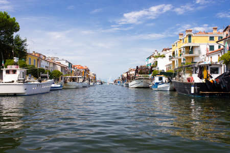 City of Grado channel and boats view