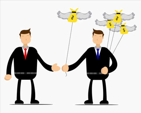 Illustration vector graphic cartoon character of a man who shares his money with others