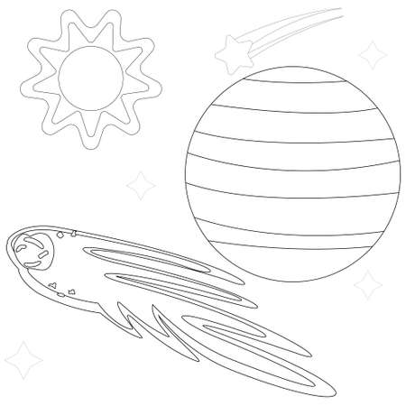 Illustration vector graphic coloring book of comets pass through sun and planet