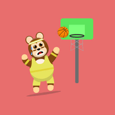 Illustration vector graphic cartoon of cute monkey throwing a basketball into the ring. Childish cartoon design suitable for product design of children's books, t-shirt etc Ilustracje wektorowe