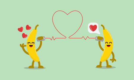 Illustration vector cartoon character of cute banana says fall in love with each other through the cans phone. Suitable for design of valentine's day and romance
