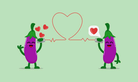 Illustration vector cartoon character of cute eggplant says fall in love with each other through the cans phone. Suitable for design of valentine's day and romance Vector Illustratie