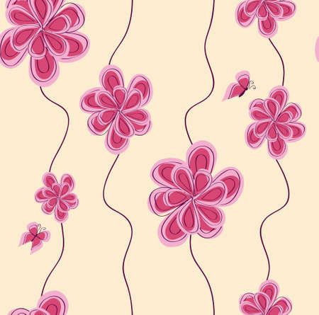pattern background with abstract pink flower Vector