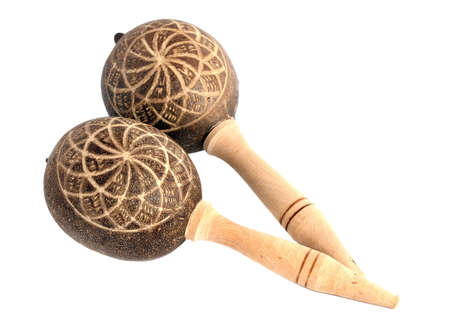 Maracas, a musical instrument on white background. photo