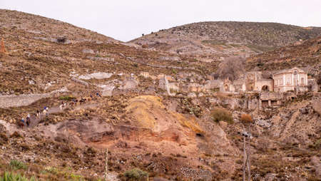 Mexican town of Real de Catorce with ruins and tourist group