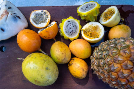 Tropical still life of fresh fruits
