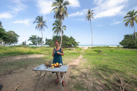 Girl with tropical fruit platter