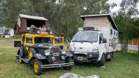 Villa de Leyva, Colombia, January, 6th, 2019: group of overlanders vehicles camping in a park