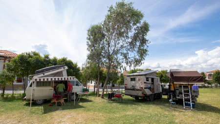 Villa de Leyva, Colombia, January, 6th, 2019: group of overlanders vehicles camping in public park