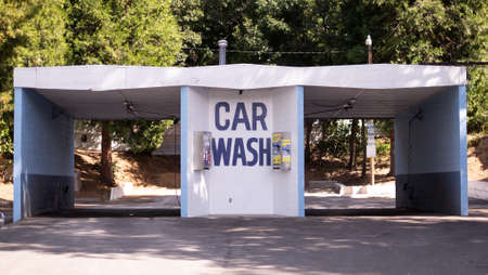 Mount Shasta, California, Usa - September, 21rt, 2017: open car wash building for doing yourself during a sunny day Editorial