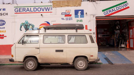 La Paz, Baja California, Mexico - December 8ht, 2017: camper van parked in front of a mechanic workshop