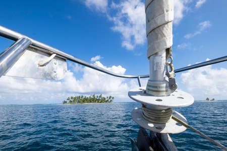 Prow view of tropical caribbean island on San Blas archipelago