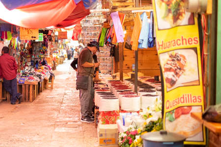 San Cristobal de las Casas, Chiapas, Mexico - April 24th, 2018: traditional market with food and more