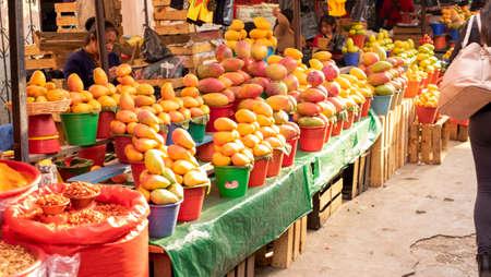 San Cristobal de las Casas, Chiapas, Mexico - April 24th, 2018: mangos street vendor market