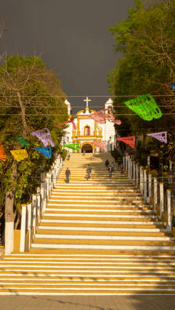 San Cristobal de las Casas, Chiapas, Mexico - March 2nd, 2018: steps to the colonial church of Guadalupe
