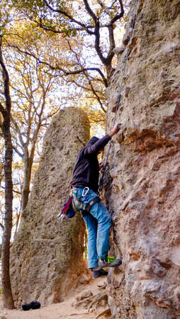 Jilotepec, Mexico - January, 16th, 2018: male rock climber on top rope