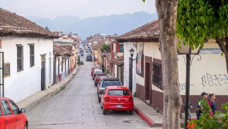 San Cristobal de las Casas, Chiapas, Mexico - March 7th, 2018: streets of the colonial town with car