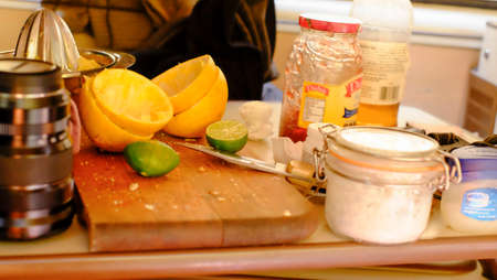 Aculco, Mexico - January 11th, 2018: cut board detail after juice inside camper van Editorial