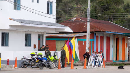 Murillo, Colombia -January, 29th, 2019: street view of the police station at the main square with people