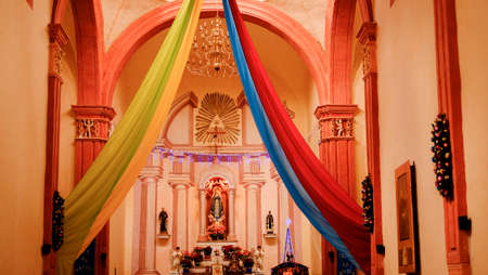 Jalpan, Sierra Gorda, Mexico - December ,28th, 207: Inside of the Franciscan mission of Jalpan, a Unesco World Heritage site