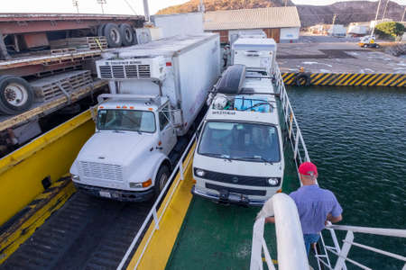 La Paz, Mexico - December 18th, 2017: ferry from La Paz, Baja California to Los Mochis in Mexico. Fully loaded of trucks and cars Editorial