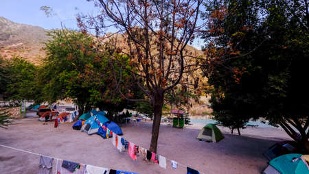 Tolantopo, Mexico - January, 18th, 2018: camping site at the popular thermal hot springs of Grutas de Tolantongo Editorial