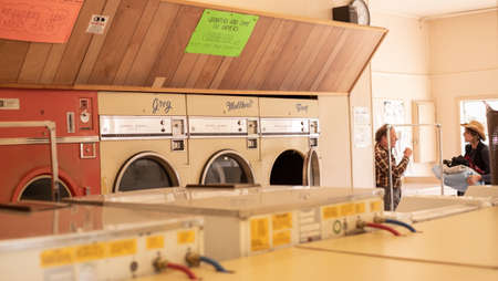 Mount Shasta, California, Usa - September, 21st, 2017: very old laundromat machines inside business Editorial