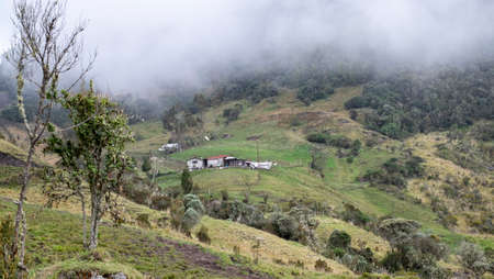 Local houses on the hill at the colombian Andes