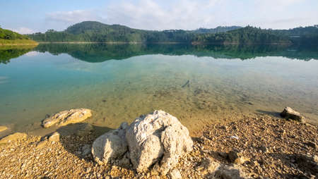 Lake Tziscao, Chiapas, Mexico, landscape with lake and hills