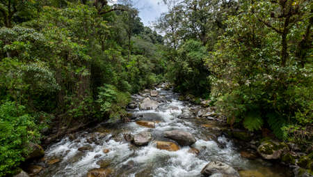 River view on the trail of the 3 Lost waterfalls at Boquete, Panama