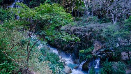 Landscape of the popular thermal hot springs at Grutas de Tolantongo, Mexico