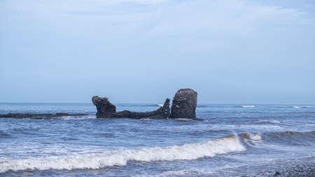 Break Point at El Tunco beach in El Salvador waves and surfers Stock Photo