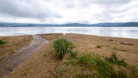 Peaceful landscape at La Cocha lagoon, Colombia Stock Photo