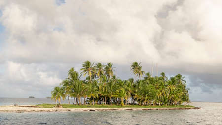 Sunny day on palm tree island view on the tropical archipelago of San Blas Island, Panama