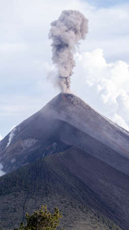 Fire Volcano in Guatemala, vertical view of eruption and