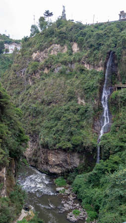 Las Lajas, Colombia - February 18th, 2019: river and canyon with waterfall and view point