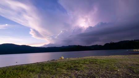 Lake Tziscao, Chiapas, Mexico, storm on the horizon