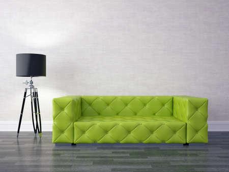 green sofa: 3D render modern interior with green sofa