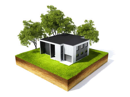 grassroots: 3d illustration of cross section of ground and home with grass isolated on white