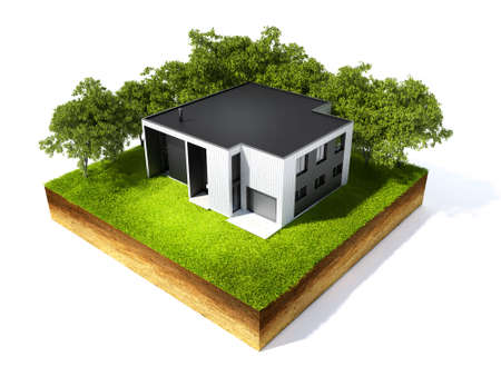 square root: 3d illustration of cross section of ground and home with grass isolated on white