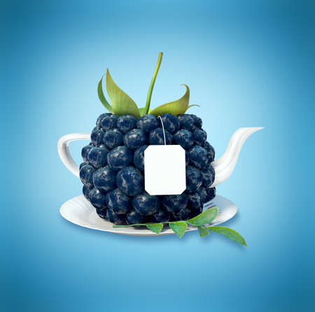 blueberries: Blueberries tea cup. Healthy food. Blueberries drink