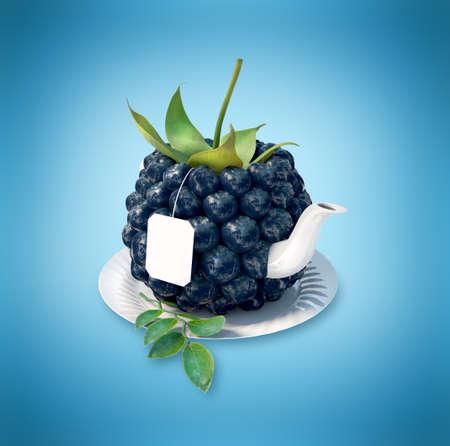 steam of a leaf: Blueberries tea cup. Healthy food. Blueberries drink