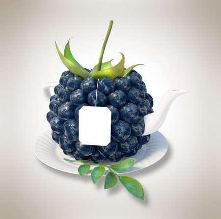 Blueberries tea cup. Healthy food. Blueberries drink photo