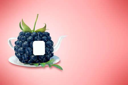 blackberry: Blackberry tea cup. Healthy food. Blackberry drink