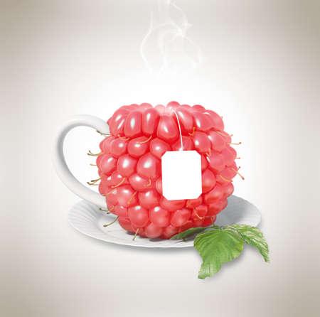 steam of a leaf: Raspberry tea cup. Healthy food. Raspberry drink