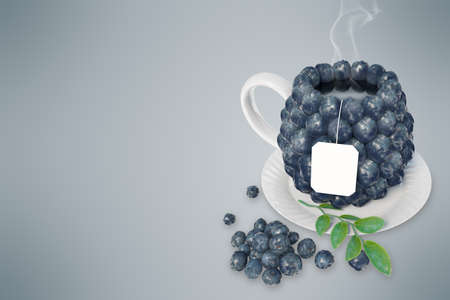 blueberry: Blueberry tea cup. Healthy food. Blueberry drink