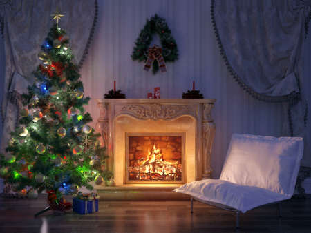 Render Christmas Room Interior Design