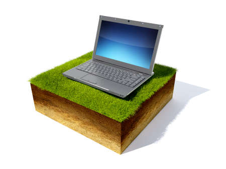 grassroots: 3D render grass field and notebook