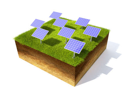square root: 3D render grass field and solar battery