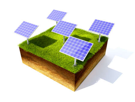 grassroots: 3D render grass field and solar battery